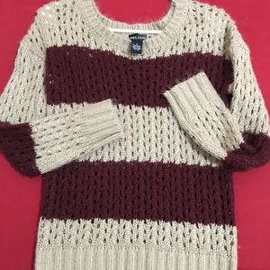 Cozy Maroon & Tan Sweater